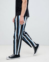 Asos Design Wide Balloon Trousers With All Over Stripe In Navy Black