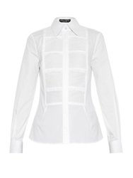 Dolce And Gabbana Bib Front Stretch Cotton Shirt