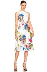 Erdem Maia Carmel Flora Dress In White Floral Blue
