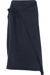 Joseph Wrap Effect Cotton Jersey Midi Skirt Navy