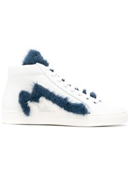 Mr And Mrs Italy Furry Hi Top Sneakers White