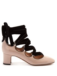 Valentino Tan Go Lace Up Patent Leather Pumps Nude