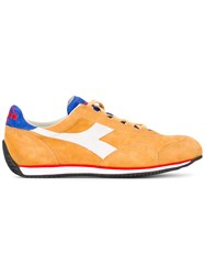 Diadora Panelled Lace Up Sneakers Men Cotton Leather Suede Rubber 8.5 Yellow Orange
