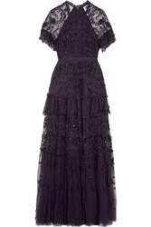 Needle And Thread Constellation Tiered Embellished Tulle Gown Midnight Blue