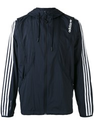 Adidas Originals Striped Arms Hooded Jacket Men Nylon S Blue