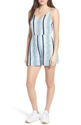 Lush Women's Print Romper Denim Stripe