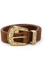 B Low The Belt Gold Tone Buckle Leather S Brown