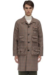 Lc23 Multi Pocket Checked Wool Coat Brown