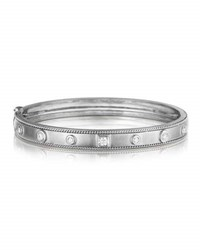 Penny Preville 18K White Gold Bangle With Round And Square Diamond Stations
