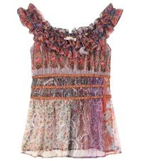 Etro Ruffled Off The Shoulder Silk Top Multicoloured
