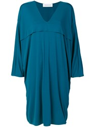 Gianluca Capannolo V Neck Flared Dress Blue