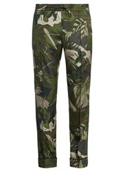 Valentino Tropical Print Silk Crepe Trousers Green Multi