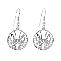 Hoochie Mama Thistle Medallion Earrings Silver