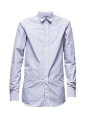 Balenciaga Logo Embroidered Striped Poplin Shirt Blue White