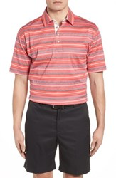 Bobby Jones Isle Stripe Jacquard Polo Mai Tai