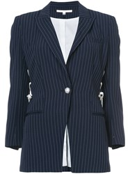 Veronica Beard Taylor Lace Up Blazer Women Polyester Viscose 4 Blue