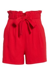 Maje Iona Paperbag Shorts Red