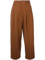 Yohji Yamamoto Vintage Cropped Pleated Trousers Brown