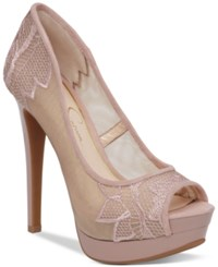 Jessica Simpson Saidey Lace Platform Pumps Women's Shoes Nude Blush Embroidered Mesh