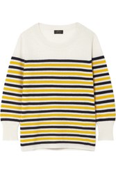 J.Crew Layla Striped Cashmere Sweater Cream