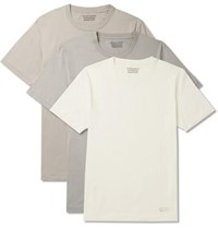 Wacko Maria Three Pack Cotton Jersey T Shirts White