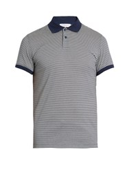 Orlebar Brown Jarrett Cotton Pique Polo Shirt Navy Stripe