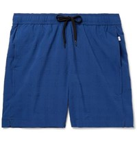 Onia Charles Mid Length Seersucker Swim Shorts Navy