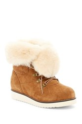 Australia Luxe Collective Yael Hidden Wedge Foldover Genuine Shearling Boot Gray