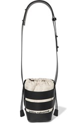 Paco Rabanne Cage Hobo Mini Leather And Canvas Shoulder Bag Black