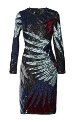 Romance Was Born Short Feather Applique Dress Black Blue Grey