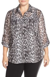 Michael Michael Kors Studded Collar Shirt With Metallic Detail Plus Size Black