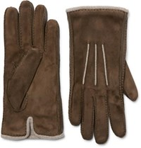 Loro Piana Damon Baby Cashmere Lined Suede Gloves Brown