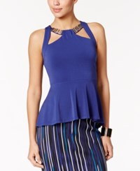 Thalia Sodi Chain Trim Peplum Top Only At Macy's Tartan Blue