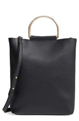 Topshop Faux Leather Tote Black