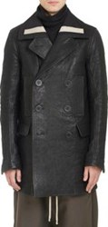 Rick Owens Bonded Leather Double Breasted Peacoat Black