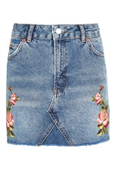 Topshop Moto Rose Embroidered Skirt Mid Stone