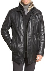 Men's Marc New York By Andrew Marc 'Stuyvesant' Lambskin Leather Jacket With Faux Fur Trim Black