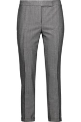 Thom Browne Cropped Wool And Mohair Blend Skinny Pants Anthracite