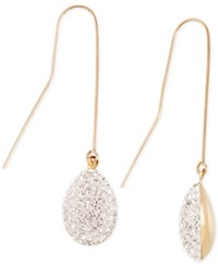 Macy's Crystal Pave Drop Earrings In 10K Gold Yellow