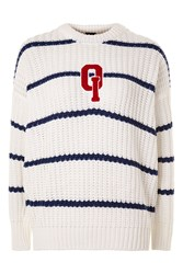 Topshop Fisherman Knitted Jumper By Oioi White