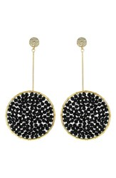 Panacea Beaded Drop Earrings Gold Jet Black