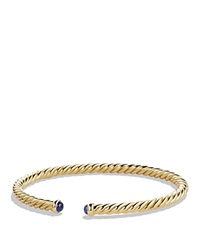 David Yurman Precious Cable Pave Cablespira Bracelet With Blue Sapphires In Gold Gold Blue