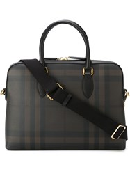 Burberry Checked Briefcase Brown