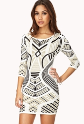 Forever 21 Glam Metallic Sweater Dress Cream Black