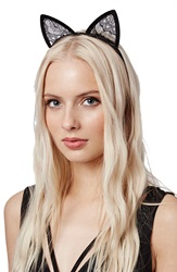 Topshop Velvet Cat Ears Headband Black