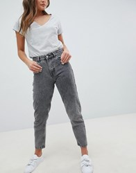 Pull And Bear Pullandbear Mom Jeans In Washed Grey Washed Grey