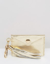 Asos Leather Card Holder Bag Charm Key Ring Gold