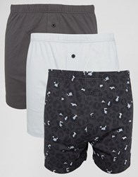 Asos Jersey Boxers In Monochrome With Leopard Print 3 Pack Monochrome Multi
