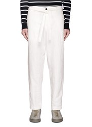 Tomorrowland Sash Belt Linen Hopsack Pants White