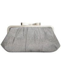 Style And Co. Pat Bow Frame Clutch Silver
